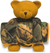 Baby Camo Plush Bear 'N Blanket W/ Heart Shaped Magnet Gift Set, Camo