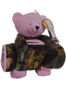 Baby Camo Plush Bear 'N Blanket W/ Heart Shaped Magnet Gift Set, Pink Camo