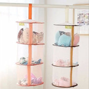 FS 2 Pcs Set Hanging Mesh Collapsible Organiser, Toy Storage Cage,3 Compartments Closure Zipper