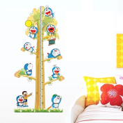 Winhappyhome Jingle Cats Cartoon Growth Charts Height Measurement Kids Wall Stickers for Children Room Nursery Background Removable Decor Decals
