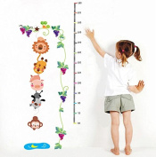Winhappyhome Animals Grapevine Vine Kids Height Measurement Growth Chart Wall Stickers for Living Room Bedroom Sofa TV Background Sticker Home Decor Removable Decals