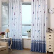 Awakingdemi Country Style Print Sheer Moon Star Shading Window Treatments Door Screen Curtain for Living Room Kids Bedroom