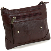 SBR Designs Women's Leather Cross Body Organiser Bag Wine