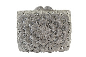 Yilongsheng Women's Glittery Square Evening Clutch Bags with Laminated Diamond Leaves