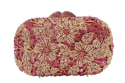 Yilongsheng Women's Dazzling Evening Party Clutch Bags with Flower Leaves Crystal