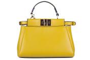 Fendi women's leather handbag shopping bag purse micro peekaboo yellow