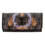 Brown Wallet Pocketbook Tribal Design Faux Leather