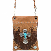 Justin West Western Tooled Turquoise Cross Concho CrossBody Mini Handbag Phone Messenger Purse