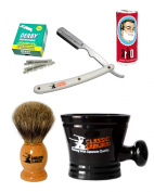 Classic Samurai Men's Shaving Set with a Straight Razor Shavette White Handle, 100 Derby Single Razor Blades, Pure Badger Shaving Brush, Arko Stick Soap and Porcelain Mug