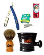 Classic Samurai Men's Shaving Set with Stainless Steel Professional Barber Straight Blue Razor Shavette with 100 Derby Single Razor Blades, Pure Badger Shaving Brush, Arko Stick Soap and Porcelain Mug