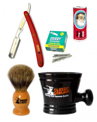 Classic Samurai Men's Shaving Set with Stainless Steel Professional Barber Straight Red Razor Shavette with 100 Derby Single Razor Blades, Pure Badger Shaving Brush, Arko Stick Soap and Porcelain Mug