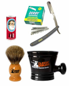 Classic Samurai Men's Shaving Set with Stainless Steel Professional Barber Straight Grey Razor Shavette with 100 Derby Single Razor Blades, Pure Badger Shaving Brush, Arko Stick Soap and Porcelain Mug