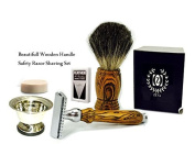 Shaving Set with ZEVA Safety Razor & Badger Brush Wood Handles