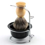 Yosoo Men's Shaving Brushes Set with Stainless Steel Shaving Brush Razor Stand Holder Shaving Bowl Mug Set or Pure Badger Hair Shaving Brush