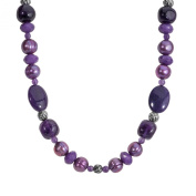 Carolyn Pollack Sterling Silver Shades of Purple Beaded Necklace, 41cm