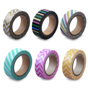 LolliZ Washi Tape - Circus Stripes Set with Six Rolls of Fun and Festive Colours