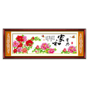 DOMEI Stamped Cross Stitch Kit, Chinese Wishes and Peony (Chinese Characters), 150cm x 60cm