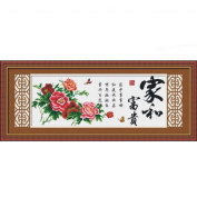 DOMEI Stamped Cross Stitch Kit, Chinese Wishes and Peony (Chinese Characters), 110cm x 47cm