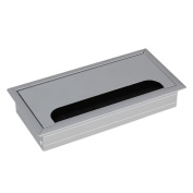 BQLZR Silver Aluminium Alloy Table TV Desk Rectangle Wire Cable Grommet Hole Cover Outport Port with Black Brush