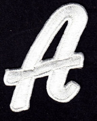 "LETTERS - White Script 5.1cm Letter ""A"" - Iron On Embroidered Applique"