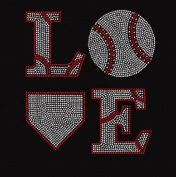 Love Baseball 4 Rhinestone Iron on Transfer
