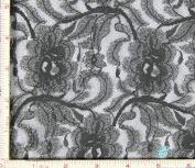 Dark Grey Flower with Leaf Stretch Lace Fabric 4 Way Stretch Nylon 170cm - 180cm