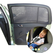 Universal Car Sun Shades Cover for Rear Side Window Provides Maximum UV Protection for Baby, Children, Kids and Dog. Best Quality Mesh Material- 1 Set