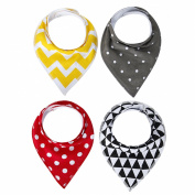 Nibble Baby Bandana Drool Bibs with Snaps, 4-Pack Super Absorbent Cotton, Unisex Baby Gift