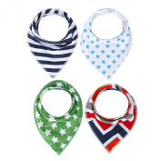 Nibble Baby Bandana Drool Bibs with Snaps for Boys | 4-Pack Absorbent Cotton | Unique Baby Gift Set