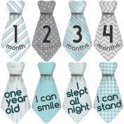 "NEW! Stick'Nsnap (TM) 15 Baby Monthly Stickers Necktie - ""Happy Patterns"" (TM), Turquoise/Grey. Milestones for 12 Months +3 Bonus Milestones - Best Baby Shower Gifts!"