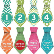 "NEW! Stick'Nsnap (TM) 30 Baby Monthly Stickers Necktie - ""Happy Patterns"" (TM), Green/White. Milestones for 12 Months +18 Bonus Milestones - Best Baby Shower Gifts!"