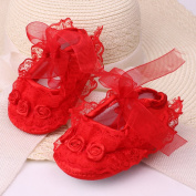 Pinksee Baby Girl Lace Trim Lace-up Prewalker Non-slip Shoes