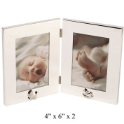 Silver Plated Double Hinged Photo Frame With Pram And Rocking Horse Icons By Haysom Interiors