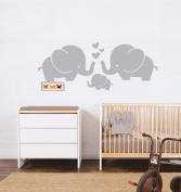 Cute Elephant Family With Hearts Wall Decals Baby Nursery Decor Kids Room Wall Stickers, 80cm w x 11.20cm h, Grey