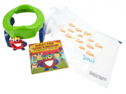 Mr. Petey 2-in-1 Potette Potty Training Kit - Includes Trainer Seat, Travel Potty, Story Book and Mr. Petey Companion - Easy to Use - For 15+ Months