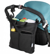 Classic, Neat & Practical Stroller Organiser and Nappy Bag + BONUS Top Quality Stroller Hook