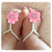 1Pair Toddlers Child Pearl Chiffon Barefoot Beach Footwear Sandals by FEITONG