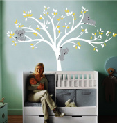 "Large Koala Tree Wall Decals for Baby Nursery Vinyl Wall Decor Stickers, 220cm wx 77""h"
