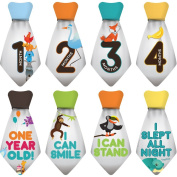 "NEW! Stick'Nsnap (TM) 15 Baby Monthly Stickers Necktie - ""Happy Animals"" (TM), Grey. Milestones for 12 Months +3 Bonus Milestones - Best Baby Shower Gifts!"