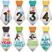 """NEW! Stick'Nsnap (TM) 15 Baby Monthly Stickers Necktie - """"Happy Animals"""" (TM), Grey. Milestones for 12 Months +3 Bonus Milestones - Best Baby Shower Gifts!"""