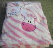 Cute Embroidered Animal Soft Pink and White Stripe Baby Blanket