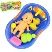 Child Pretend Role Play Baby Doll Bathing Shower Bath Tub Bathroom Accessories