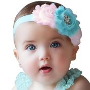 UCLL Cute Baby Headbands, Rose Flower with Diamond Ringstone Headband, Colourful Lace Headband