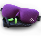 Purple Sleep Mask by Bedtime Bliss® - Contoured & Comfortable With Moldex® Ear Plug Set. Includes Carry Pouch for Eye Mask and Ear Plugs - Great for Travel, Shift Work & Meditation