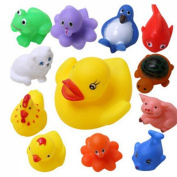 Kungfu Mall 13Pcs Rubber Float Sounding Animals Baby Kids Bath Toys Wash Pool Tub Play Water