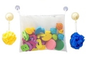 JUMBO Suction Cups Bath Toy Organiser with Bonus 2 Individual Suction Cups with Hooks. Great for Toddlers, Gift Sets