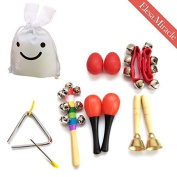 Elesa Miracle Kids Mini Band Musical Instruments Rhythm Toys Value Pack, with a Rabbit-Shaped Cloth Pouch [Set of 10]
