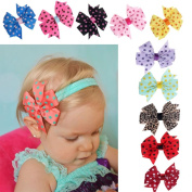 WINWINTOM 10PC Babys Elastic Wave Point Bowknot Photography Headband Hairband Colourful