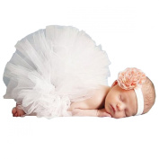 Happy Cherry Newborn Baby Infant Girls Flower Headwear and Pettiskirt Outfit Costume Photo Props