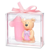 Teddy bear with number 1. 80 x 35 x 70mm. pink